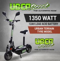 BLACK UBERSCOOT 48V 1350W SILENT HUB - Urban Terrain Tyre Model