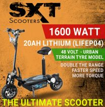 2020 SXT XL 48V 1600W LITHIUM TURBO ELECTRIC SCOOTER - BLACK URBAN ALL TERRAIN EDITION