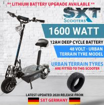 2021 SXT XL 48V 1600W TURBO ELECTRIC SCOOTER - BLACK URBAN TERRAIN - DEEP CYCLE EDITION